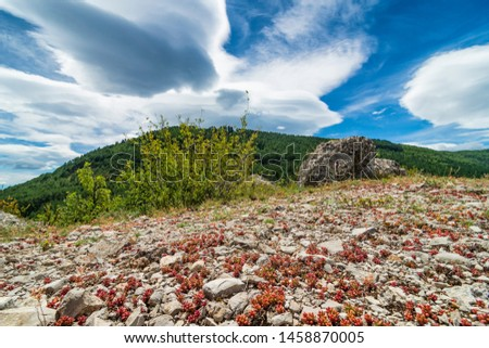 Windy weather in Provence, France. Countryside landscape with rocky road and windy clouds