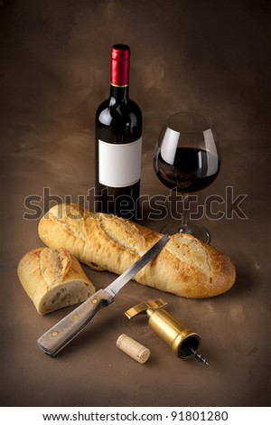 Wine and bread still life on dutch master canvas background #91801280
