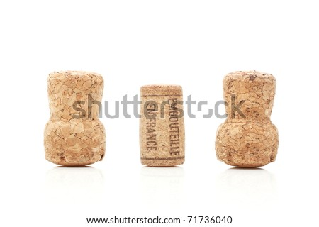 Wine and champagne corks isolated on white