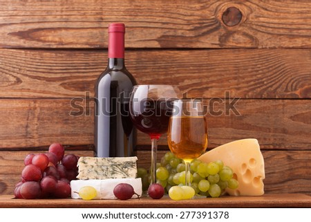 Wine and cheese. Flat mock up for design.