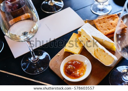 Wine and cheese tasting in South Africa estate in Western Cape wine-growing region