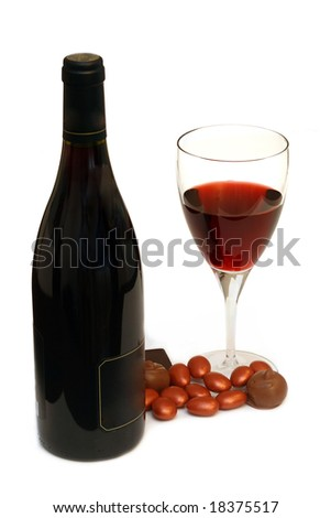 wine and chocolate isolated on white