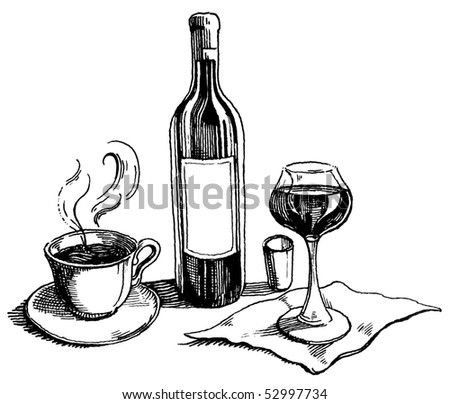 wine and coffee on the table