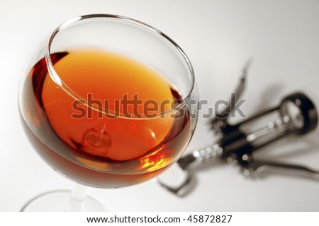 wine and corkscrew - stock photo