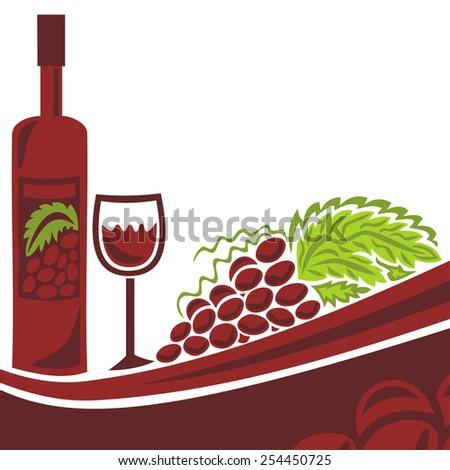Wine and grape illustration