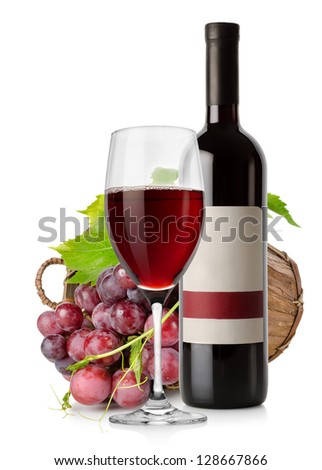 Wine and grape in basket isolated on white background