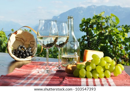 Wine and grapes against Geneva lake. Lavaux region, Switzerland