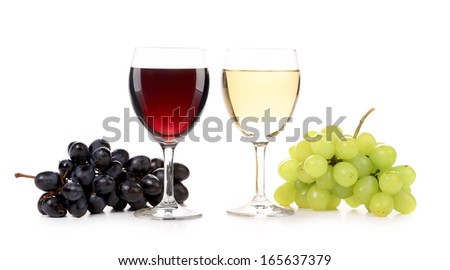 Wine and grapes composition. Isolated on a white background.