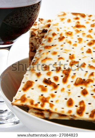 Wine and matzoh - elements of jewish passover supper