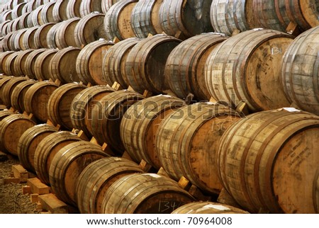 Wine and tequila barrels