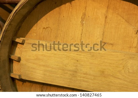 Wine barrel detail in an aging process cellar