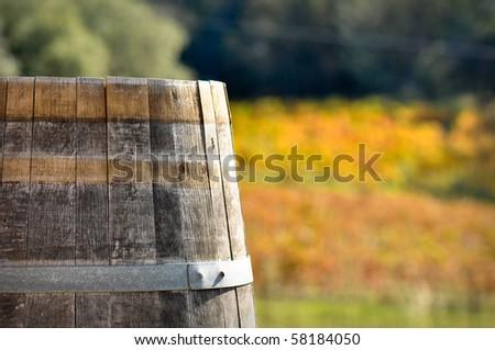 Wine Barrel in Autumn Fall in Scenic Napa Valley