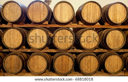 Wine barrels at a Bodega on Lanzarote, Spain