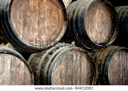 Wine barrels in a wine cellar in lanzarote