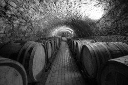 Wine barrels in a wine cellar. Small production. Underground tunnel. Storage of finished products. deep sharpness on a wide angle lens. Black and white