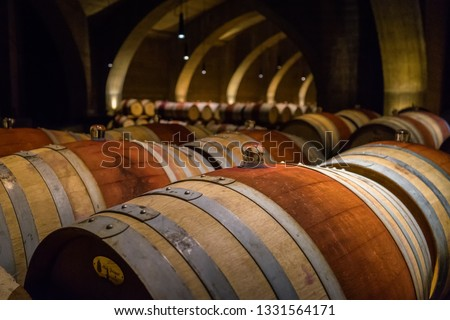 Wine barrels in one of Kelowna's wineries. #1331564171