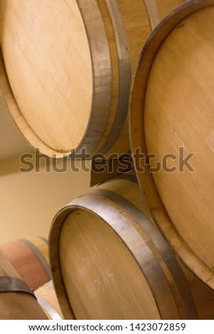 Wine barrels in store room