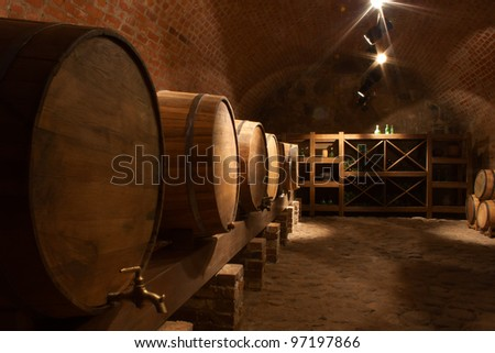 Wine barrels in the a wine cellar