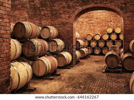 Shutterstock Wine barrels in wine-vaults in order