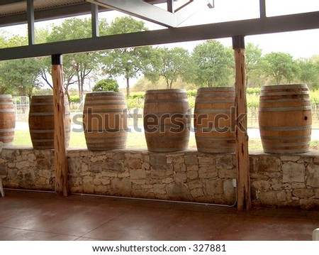 Wine barrels on a deck