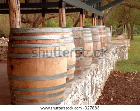 Wine barrels on a wall