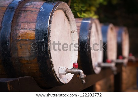 Wine barrels on the stand