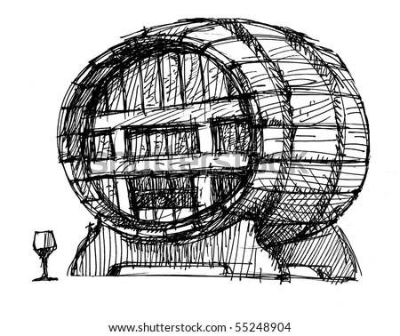 Beer Barrel Drawing Wine Beer Barrel