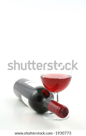 Wine bottle against a white background