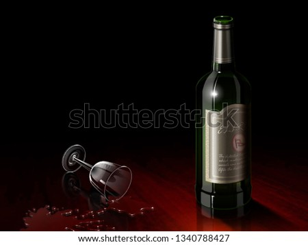 Wine bottle and glass digital painting