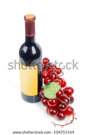 Wine bottle and goblet