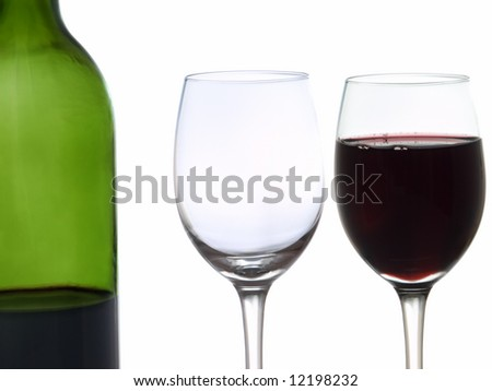 Wine bottle and two glasses for wine-testing.