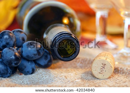 Wine bottle, cork, blue grapes and pair of wineglasses. Shallow DOF. Focus on bottleneck.