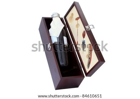 wine bottle in the wooden box