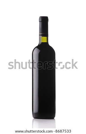 Wine bottle isolated against white background