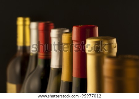 Wine bottle necks with limited depth of field