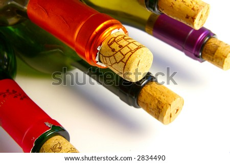 Wine bottle tops with corks, closeup