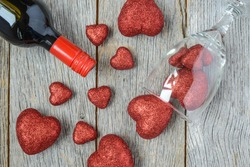 Wine Bottle with Hearts for Valentine's Day