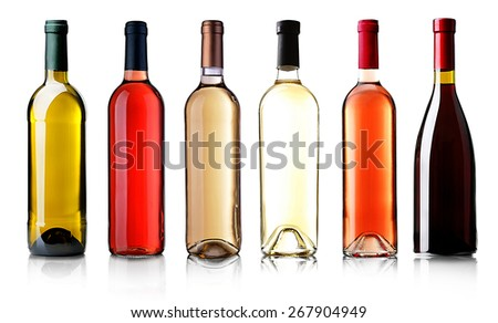Wine bottles in row isolated on white #267904949
