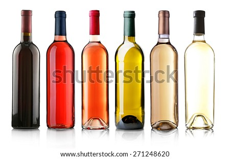 Wine bottles in row isolated on white #271248620