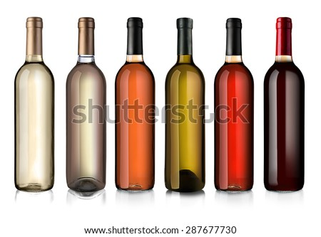 Wine bottles in row isolated on white #287677730