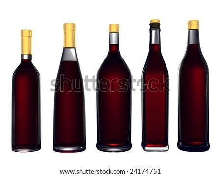 Wine bottles isolated on white background #24174751