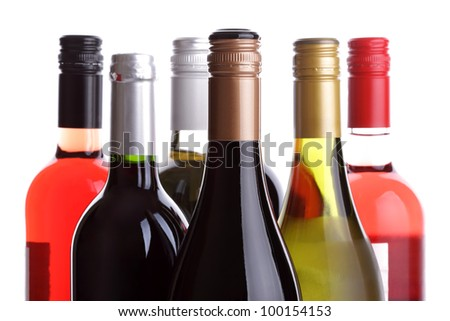 Wine bottles on a white background