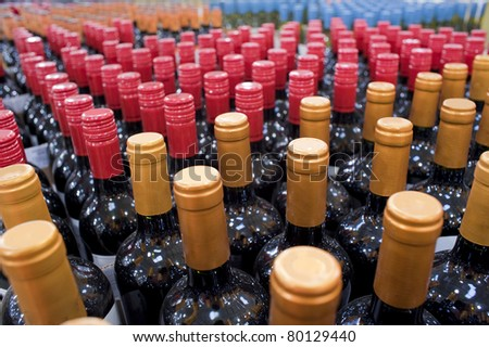 Wine bottles on display in a liquor store