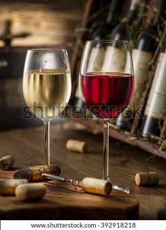 Wine bottles on the wooden shelf. #392918218