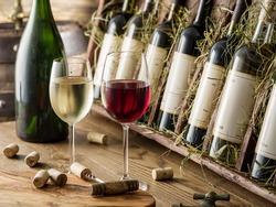 Wine bottles on the wooden shelf. Wine cellar.