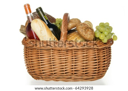 Wine bread and cheese in picnic basket,on white background.