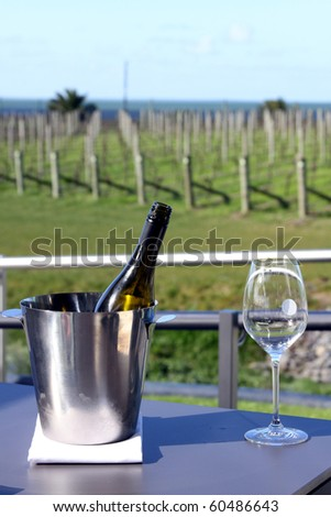 Wine bucket and glass, New Zealand