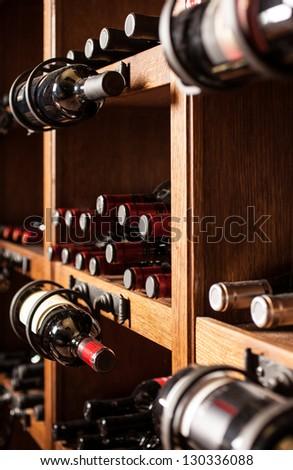 Wine cellar full of wine bottles #130336088