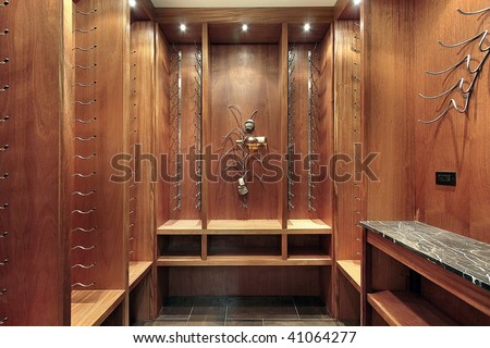 Wine cellar in luxury home - stock photo