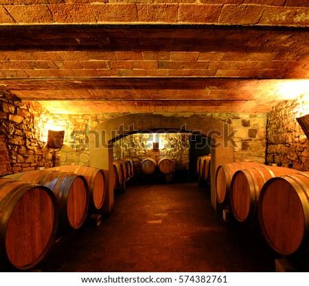 Wine cellar in Tuscany, Italy